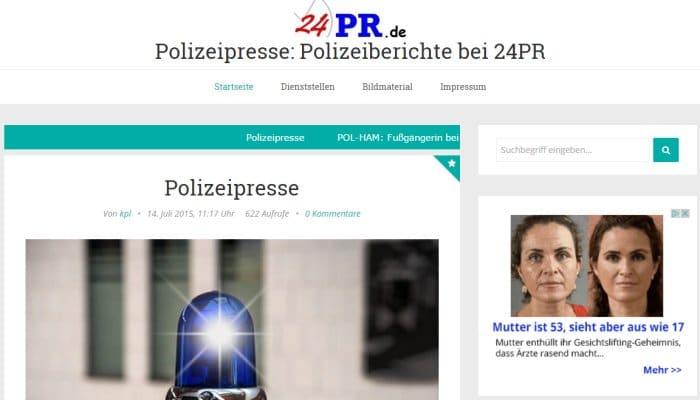 Polizeiberichte bei 24pr.de